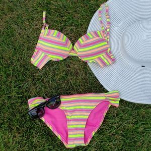 Neon Stripe Bikini